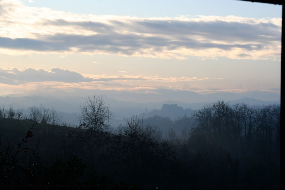 Misty view of Mombercelli Castle