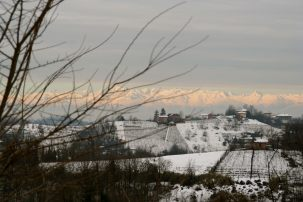 Snowy view of the Alps from the house